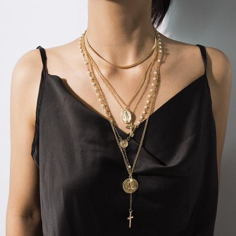 Vintage multi-layered embossed cross sweater chain alloy necklace NHXR158378's discount tags
