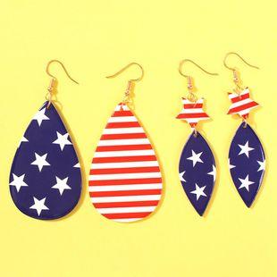 Stylish geometric drop shaped American flag resin earrings NHMD158381's discount tags