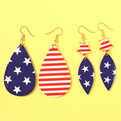 Stylish geometric drop shaped American flag resin earrings NHMD158381's discount tags