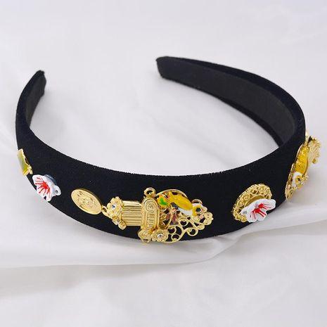 European and American Baroque Satin Artificial Gemstone Bird Headband NHNT158382's discount tags