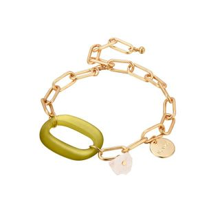 Fashion neutral wind rectangular copper chain acrylic plate bracelet NHXS158385's discount tags