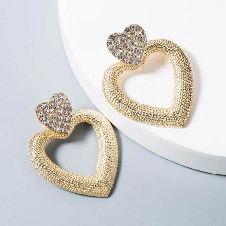 Vintage style alloy heart-shaped rhinestone hollow earrings NHLN158386's discount tags