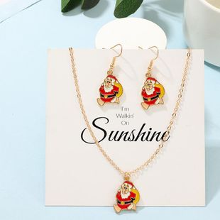 Fashion Creative Santa Claus Earrings Necklace Set NHNZ158387's discount tags