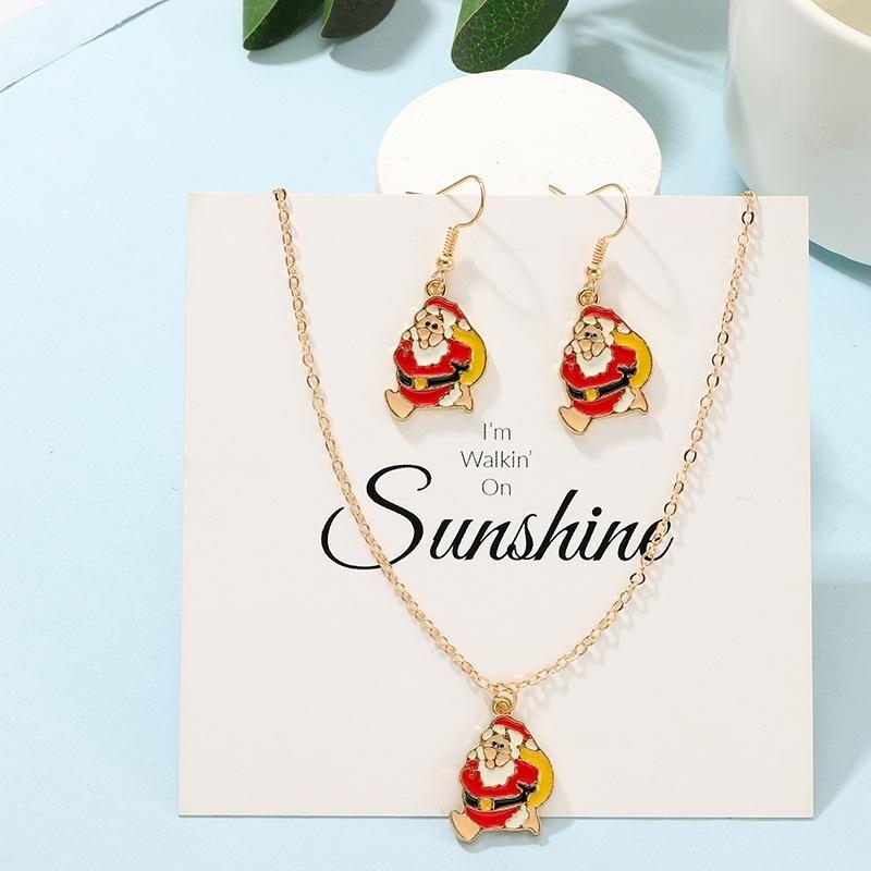 Fashion Creative Santa Claus Earrings Necklace Set NHNZ158387