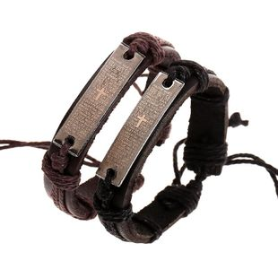 Fashion leather scripture leather bracelet NHPK158389's discount tags