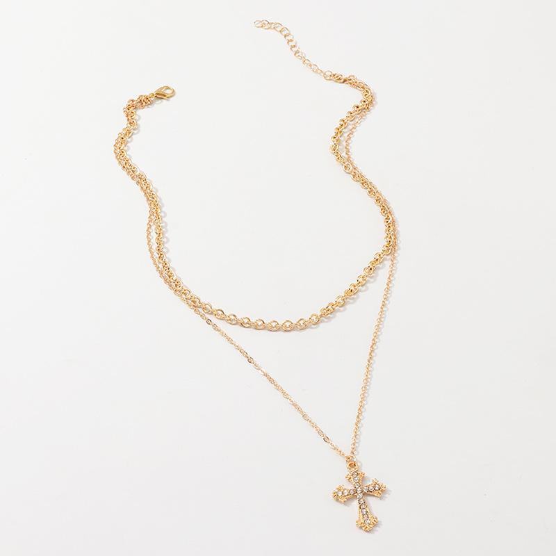 Fashion cross micro-studded double-layer necklace NHNZ158390