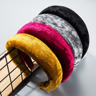 Wide-brimmed sponge gold velvet headband NHLN158392's discount tags