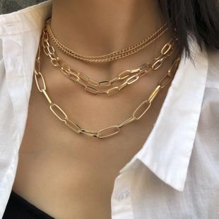 Vintage punk multi-layer mix and match chain necklace NHXR158393's discount tags