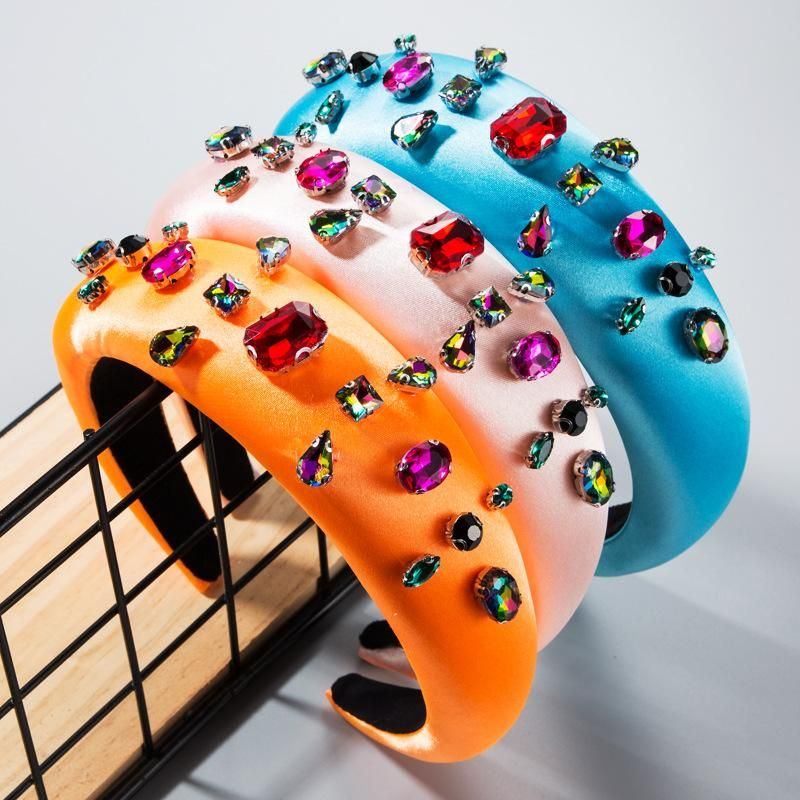 Baroque wind colored glass drill rhinestone thickening headband NHLN158397