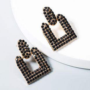 Fashion retro personality geometric rhinestone alloy earrings NHLN158399's discount tags