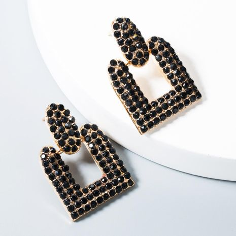 Fashion retro personality geometric rhinestone alloy earrings NHLN158399's discount tags
