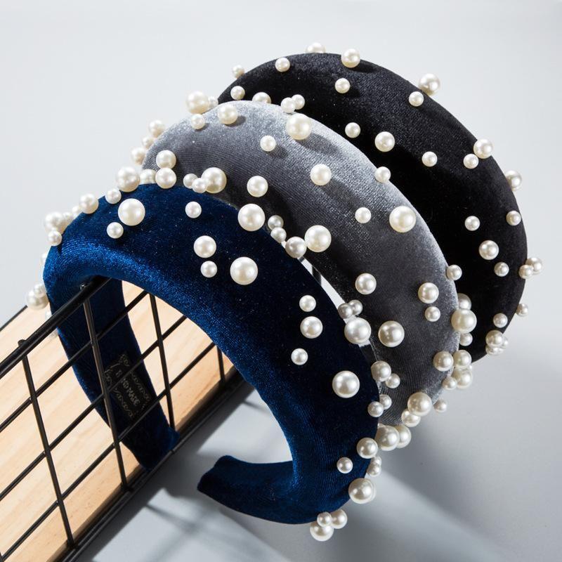 Thick sponge gold velvet cloth Christmas pearl headband NHLN158401