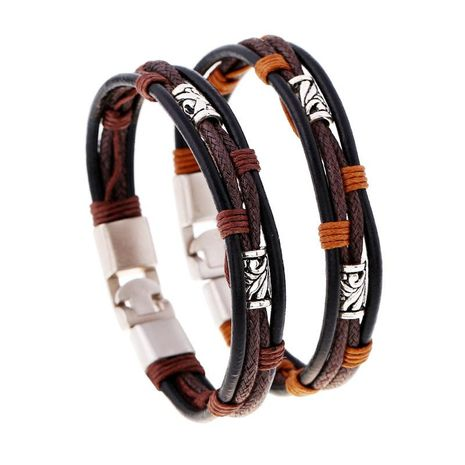 Vintage hand-knitted leather alloy leather bracelet NHPK158405's discount tags