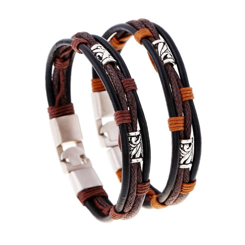 Vintage handknitted leather alloy leather bracelet NHPK158405
