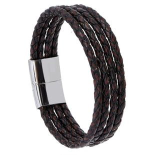 Simple and versatile stainless steel imitation leather bracelet NHPK158407's discount tags