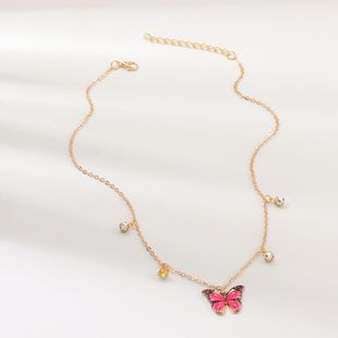 Fashion personality with diamond clavicle chain bow necklace NHNZ158409's discount tags