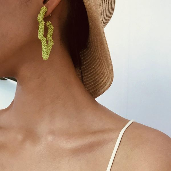 Fashion irregular geometric colored rice earrings NHXR158410