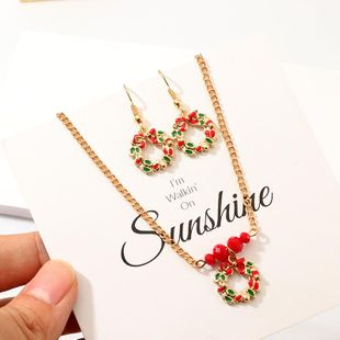 Creative Drop Oil Elk Gift Wreath Earrings Necklace Set NHNZ158411's discount tags