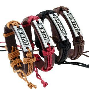 Vintage woven alloy letter leather bracelet NHPK158414's discount tags