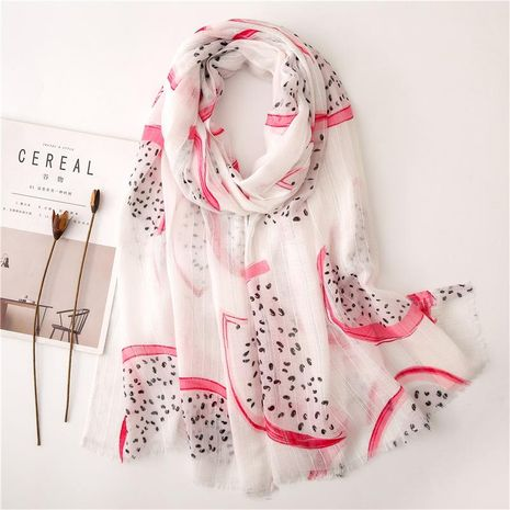 Korean version of the soft pink dragon fruit doodle cotton and linen scarf NHGD158418's discount tags