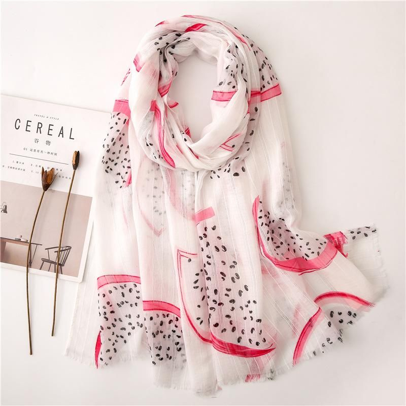 Korean version of the soft pink dragon fruit doodle cotton and linen scarf NHGD158418
