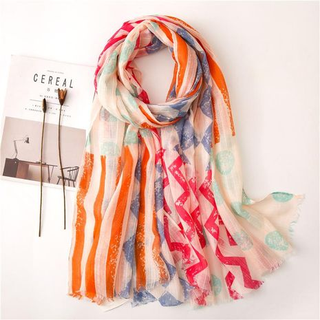 Korean version of red and blue contrast geometric pattern cotton and linen scarf NHGD158420's discount tags
