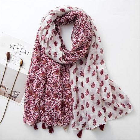Fashion red and white contrast color flower print cotton scarf NHGD158424's discount tags