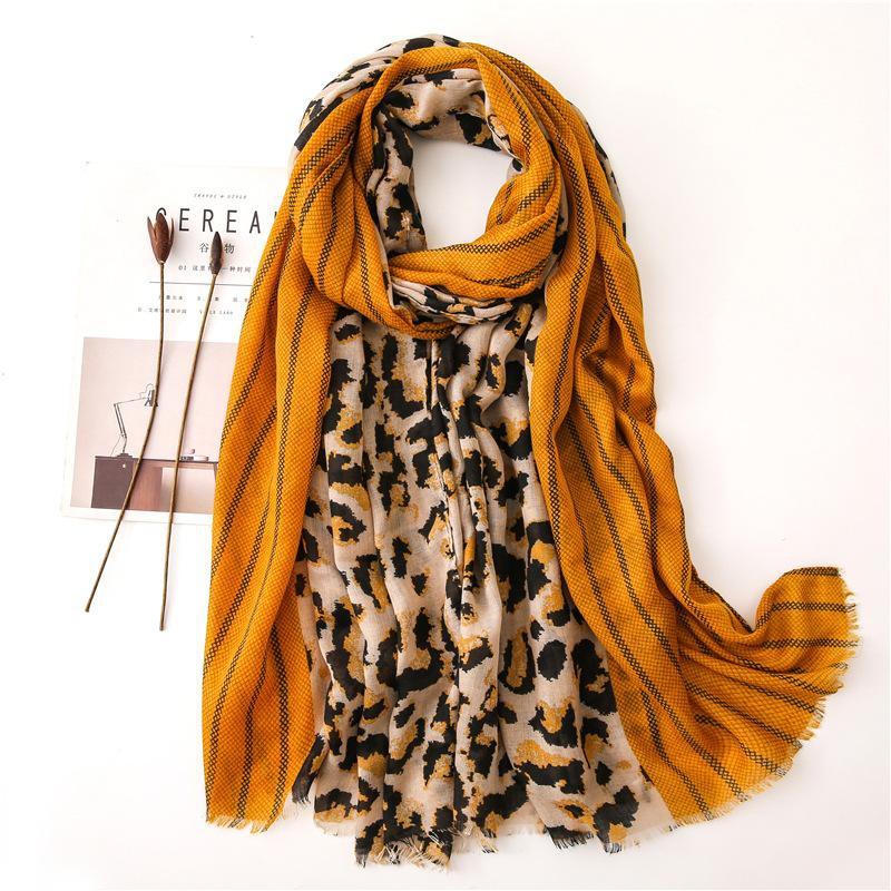 Fashion leopard print versatile cotton and linen scarf NHGD158427