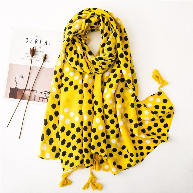 Fashion cotton yellow bee nest print scarf NHGD158429