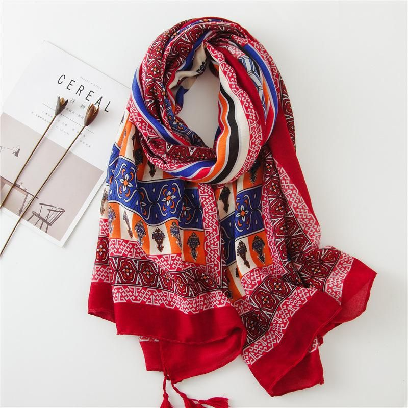 Fashion sunscreen national wind red scarf NHGD158432