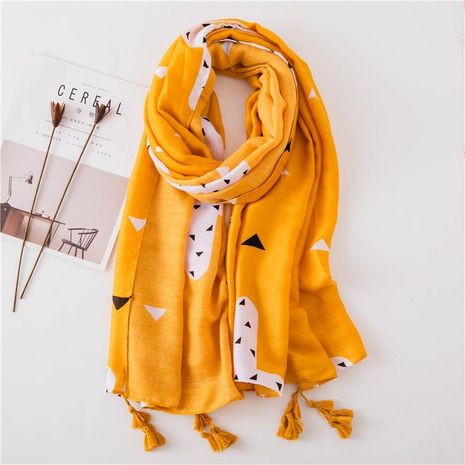 Cotton and linen hand scarf pink triangle geometric tissue scarf NHGD158433's discount tags