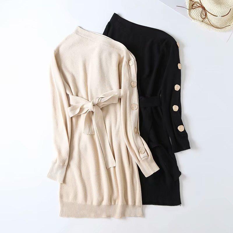 Autumn shoulder and shoulder button sweater skirt NHAM158452