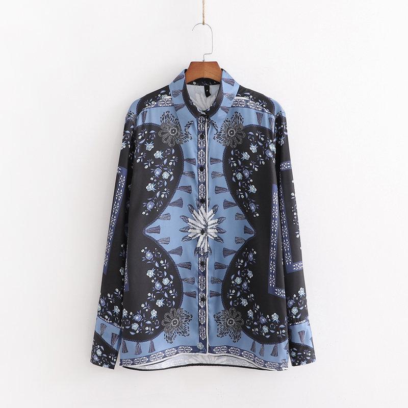 Long sleeve printed casual straight loose shirt NHAM158456