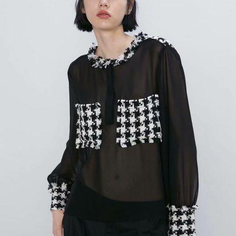 Autumn tweed stitching chiffon shirt NHAM158461's discount tags