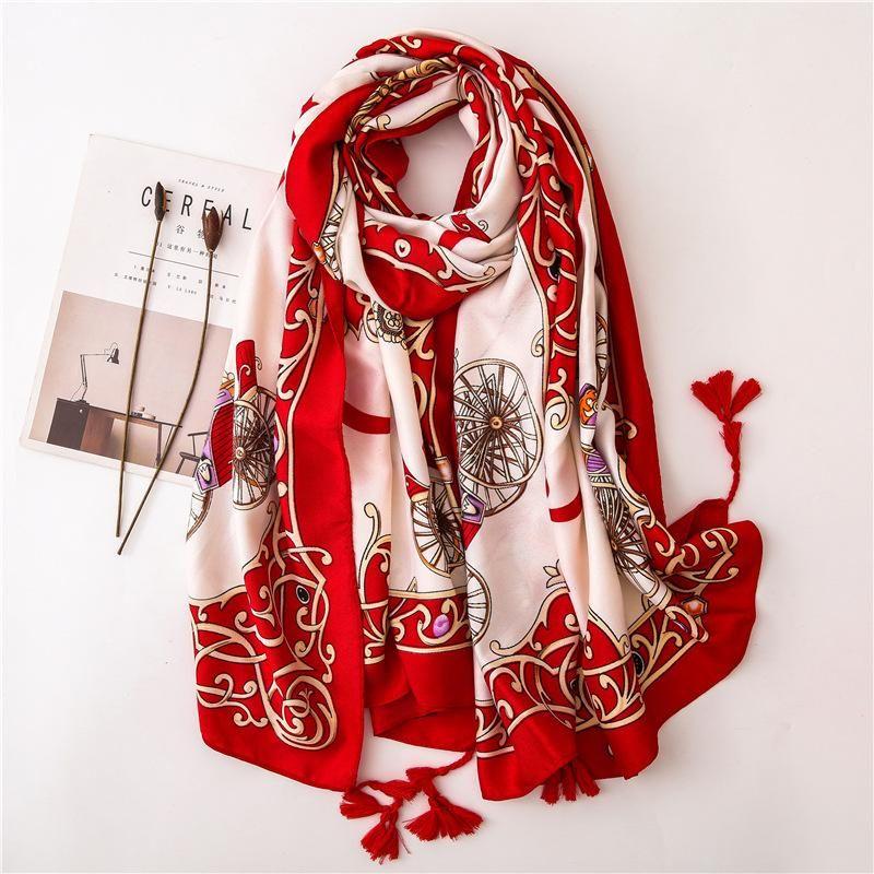 Korean version of satin twill cotton and linen hand print scarf NHGD158470