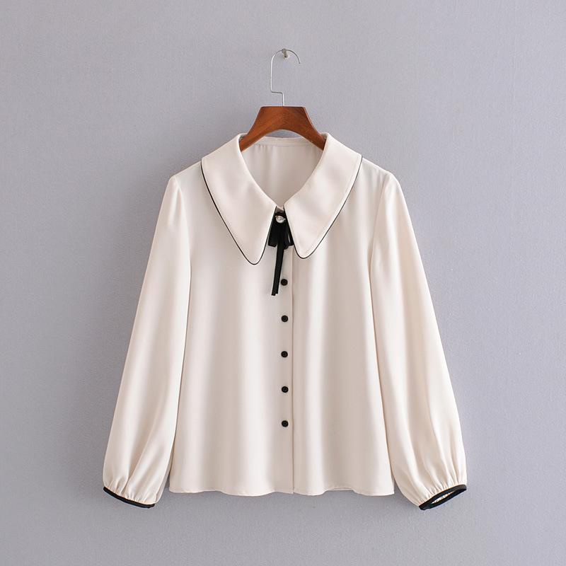 Fashion Pearl Lapel Niche Solid Color Shirt NHAM158468
