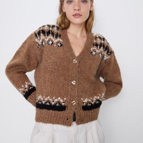 Printed jacket fashion temperament knit cardigan NHAM158473's discount tags