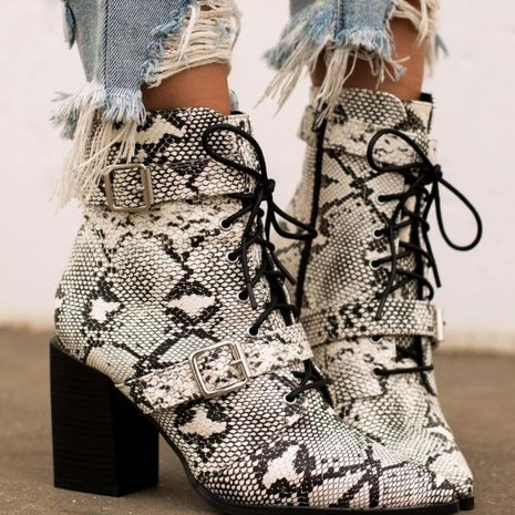 Europe and the United States large size thick high heel snake cross tie ankle boots NHSO158484's discount tags