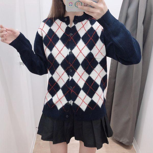 Diamond-shaped round neck cardigan long-sleeved sweater NHAM158492