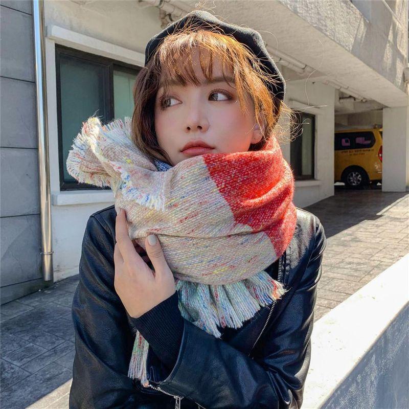 Long thick couple lovers acrylic warm tassel scarf NHMN158493