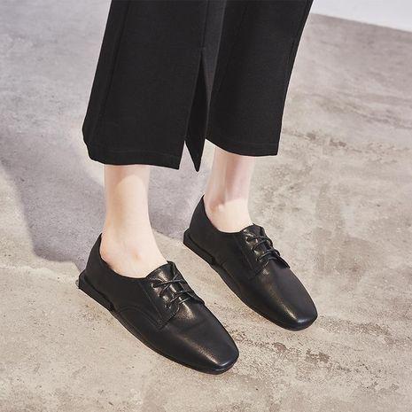 Sleek minimalist square head brogue women's shoes NHHU158494's discount tags