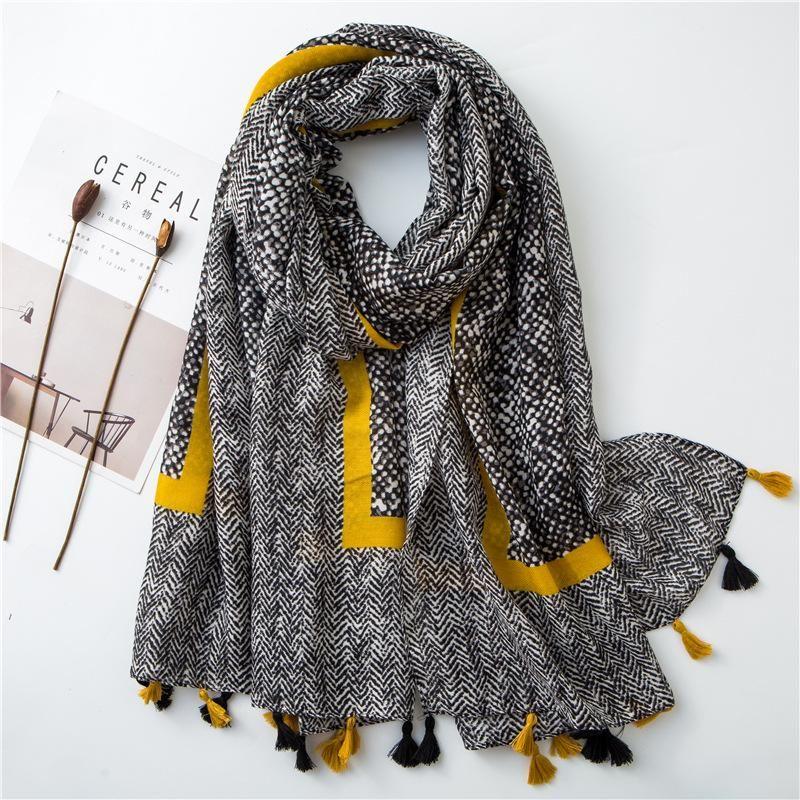 Cotton and linen ladies snakeskin leopard tassel scarf NHGD158495