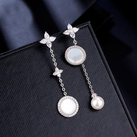 Fashion personality mother pearl silver needle ear studs NHDO158514's discount tags