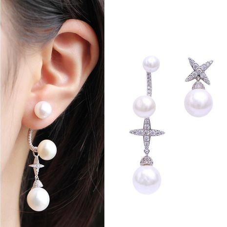 Fashion wild silver needle zircon four-pointed star stud earrings NHDO158516's discount tags