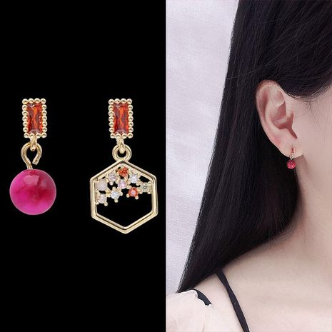 Temperament personality asymmetrical polygon micro-encrusted earrings NHDO158529's discount tags