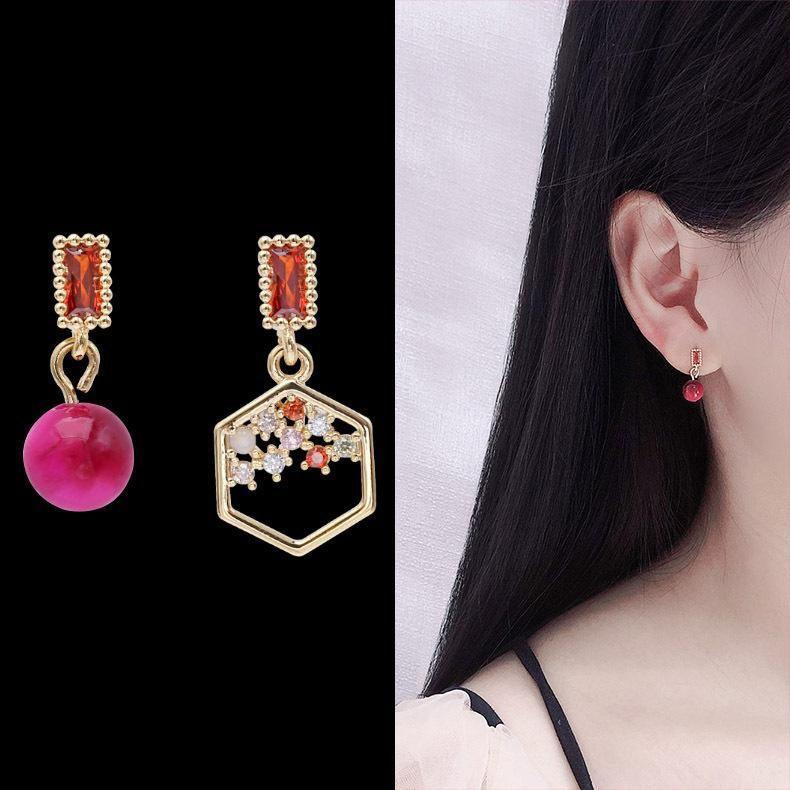 Temperament personality asymmetrical polygon micro-encrusted earrings NHDO158529