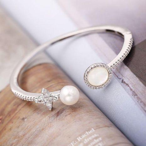 Womens Geometric Brass Zircon Bracelets & Bangles NHDO158549's discount tags
