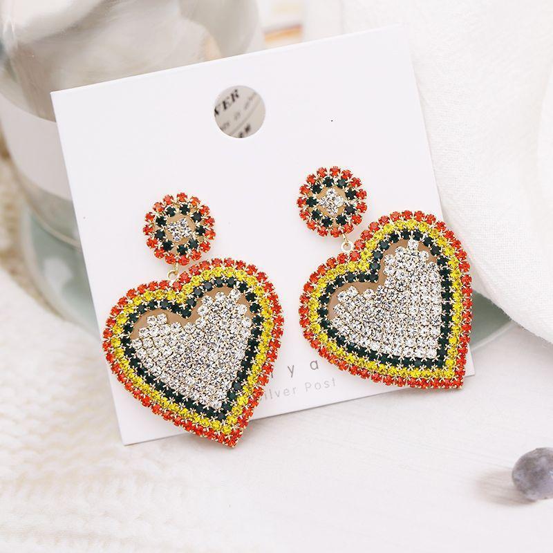 Womens Heart-Shaped Rhinestone Earrings NHDO158557