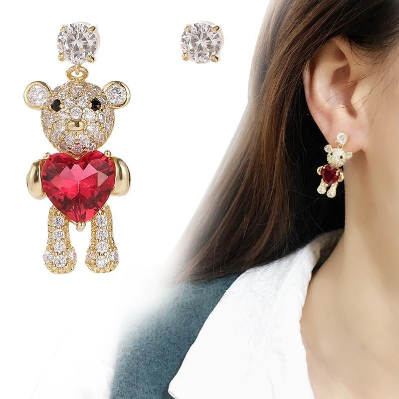 Fashion simple and asymmetrical love bear ear studs NHDO158561