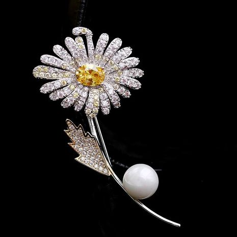Fashion flower copper with zircon brooch NHDO158564's discount tags